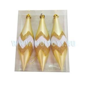 EG-19 Сосульки бело-золотые с рисунком 14см.