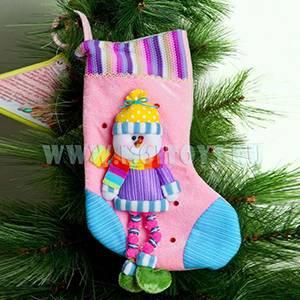 KW043 Новогодний носок фиолетовый со Снеговиком