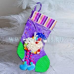 KW041 Новогодний носок фиолетовый с Дедом Морозом