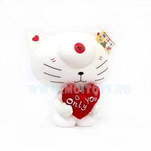 OY004-2 Антистресс `Кот белый с сердцем`