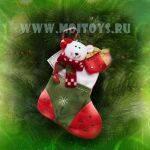 LF13-1 Новогодн. Носок (красно-зеленый) с мишкой 25см.
