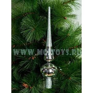 16-011-116D Верхушка на елку `Сосулька` серебрен. 28см.