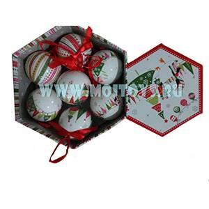 KW061 Набор шаров 14шт `Ёлочки` красно-белые