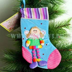 KW042 Новогодний носок фиолетовый с Ангелом