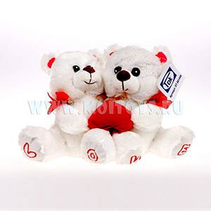 081448 2 Мишки `LOVE` с сердечком 18см.