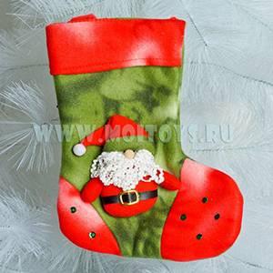 LF13-2 Новогодн. Носок (красно-зеленый) с Д/морозом 25см.